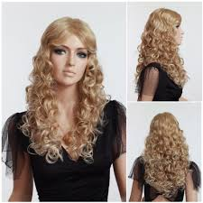 woman u0027s wig blonde long curly fluffy popular hairstyle