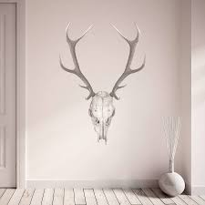 monochrome stag and bull skull wall sticker by oakdene designs monochrome stag and bull skull wall sticker
