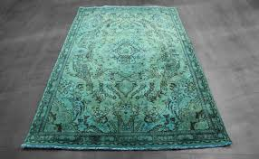 5x8 overdyed persian tabriz design teal blue green rug woh 1352