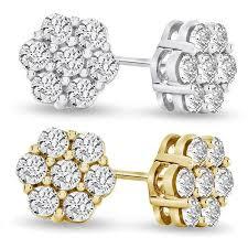 diamond earrings uk 1 2 carat simulated diamond cluster earrings fakurma co uk
