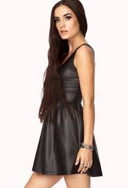 fit and flare dress forever 21 forever 21 faux leather fit flare dress in black lyst