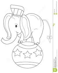 hand drawn coloring page of a circus elephant stock illustration