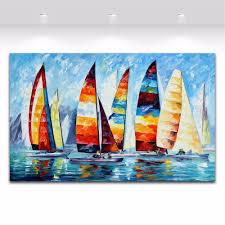 aliexpress com buy sail regatta colorful sailboats painting