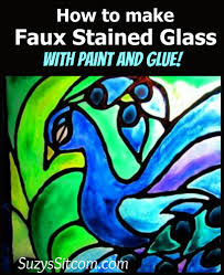 how to make faux stained glass with acrylic paint and glue faux