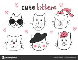 cute cat doodle series cat avatars cats sketch line style icons
