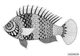 fish art design coloring book tattoo shirt