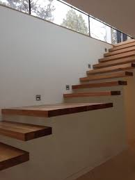 floating staircase kit teak wood floating stairs attach on wall