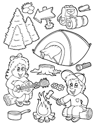 preschool coloring pages camping in summer season season