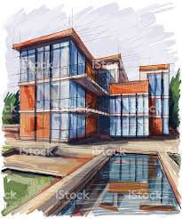 concept drawing of a three story building with water pool stock