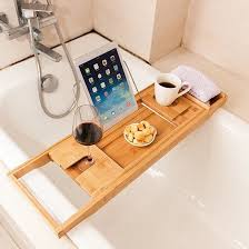 Wine Glass Holder For Bathtub Wooden Bathtub Caddy W Wine Glass Holder U2013 Trendygator
