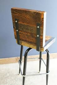 Barnwood Bar Stools 2 Industrial Stools With Backs Made With Old Reclaimed Barn Wood