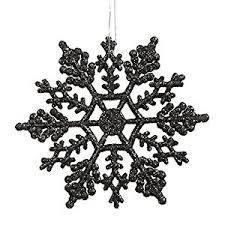 club pack of 24 jet black glitter snowflake