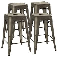 outdoor kitchen bar stools amazon com 24 counter height bar stools rustic gunmetal by