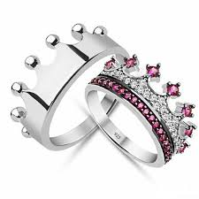 couples rings silver images Fuchsia cz crown promise rings for couples crowns tiaras jpg