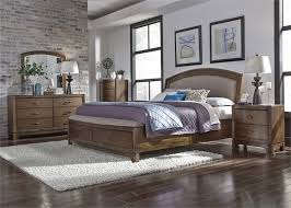 avalon bedroom set upholstered storage bed 6 piece bedroom set in pebble brown finish