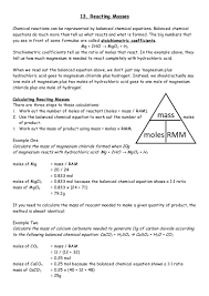Chemical Equations And Reactions Worksheet 13 Reacting Masses