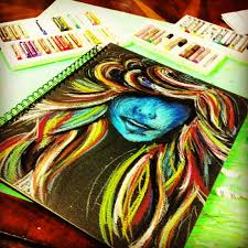 oil pastel sketch on the cover of a sketchbook this art of mine