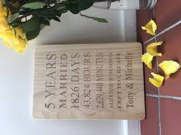 engraved anniversary gifts engraved wooden 5 years plaque x large personalised