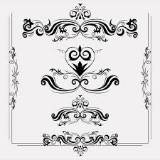 floral and swirl ornaments shape vector 123freevectors