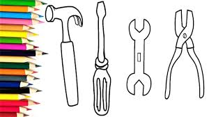 how to draw repair tools set toys coloring pages and drawing for
