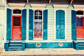 new orleans colorful houses new orleans photograph turquoise shutters travel photography
