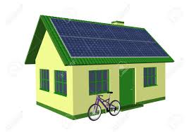 3d render simple house model with solar panels and bicycle stock