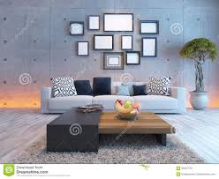 Concrete Interior Design by Living Room Interior Design With Concrete Wall And Picture Frame