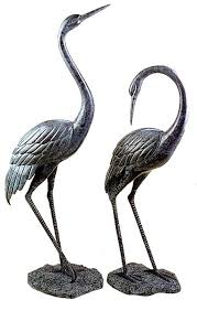 bronze garden cranes pair medium san pacific international