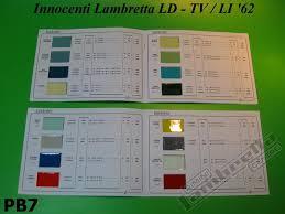 pair of lambretta paint colour catalogues codes colour chips