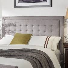 Gray Linen Headboard Inspired By A Modern Button Tufted Design This Woodside Grey
