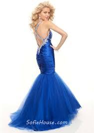 trumpet mermaid sweetheart floor length royal blue prom dress with