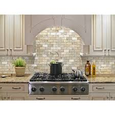 shop allen roth beige honed natural stone mosaic subway indoor