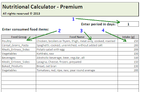 daily calories u0026 food nutrition excel spreadsheet calculator