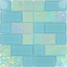 tiles oceanic unique shapes aqua glossy and iridescent glass