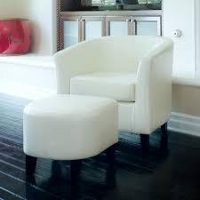 petaluma ivory leather club chair and ottoman combo modern