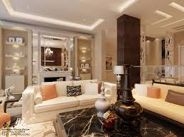 stylish living room wall shelves with cream sofa and black carpet