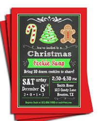 printable chalk style holiday cookie exchange party invitation diy