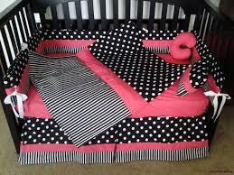 Black And White Crib Bedding Set Black White Polka Dot Stripe W Pink Crib Bedding Set