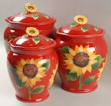 sunflower kitchen canisters certified int corp sun blossom at replacements ltd