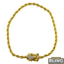 3mm diamond cz diamond lock 3mm gold rope bracelet new hip hop jewelry sb241g