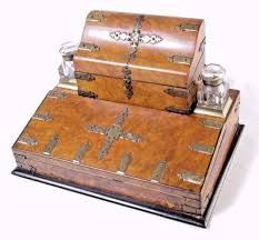 Writing Desk Accessories by B385 Antique Victorian Burr Walnut Travelling Lap Desk Writing