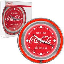 Coca Cola Home Decor Amazon Com Coca Cola Chrome Double Ring Neon Clock 14