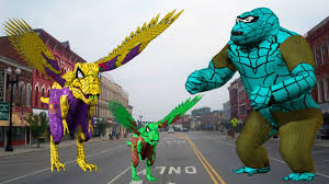 spider dinosaur vs spider gorilla fight for children cartoons