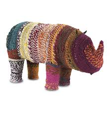malfi colored chindi wrapped rhino sculpture kathy kuo home