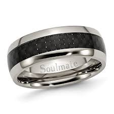 soulmate wedding ring men s 8 0mm engraved titanium with carbon fiber inlay wedding band