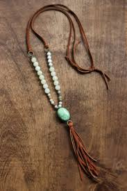 leather bead necklace images Boho beaded necklace with camel tassel and green by beigeandbarn jpg