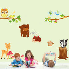 animals playing in wild nature cartoon wall stickers for nursery cheap animal wall stickers best wall stickers kids rooms