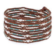 bead wrap bracelet leather images Turquoise mix seed bead wrap bracelet on natural brown leather jpg