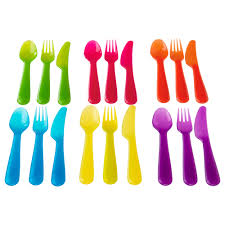kalas 18 piece cutlery set assorted colours ikea