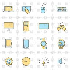 electronic gadgets electronic gadgets and computer devices icons royalty free vector